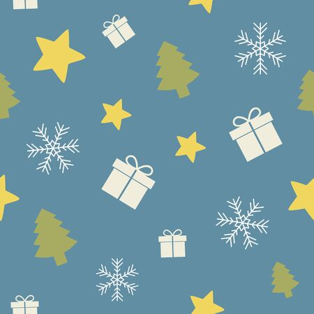 seamless pattern christmas design with star gift fir tree and snowflake vector illustration EPS10 Иллюстрация