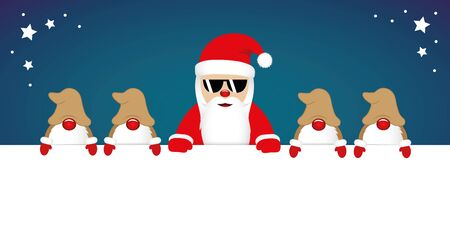 cute happy santa claus with glasses and his gnomes white banner vector illustration EPS10 Zdjęcie Seryjne - 130787853