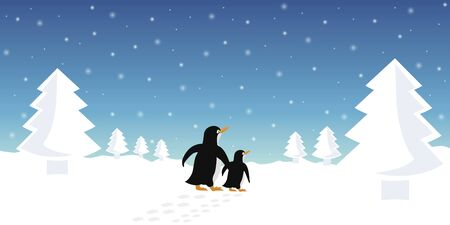 two penguins in winter snowy landscape vector illustration EPS10 Ilustração