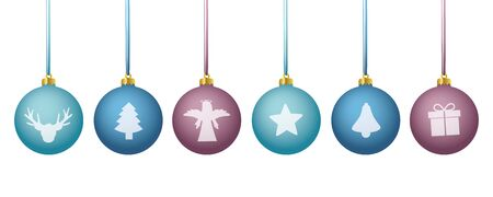 blue and purpe colored christmas balls with different motives vector illustration EPS10 Иллюстрация