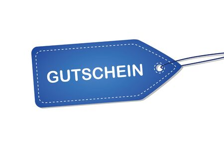 blue label with german word for voucher vector illustration EPS10
