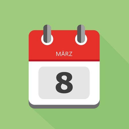8th march International womens day calendar icon vector illustration EPS10