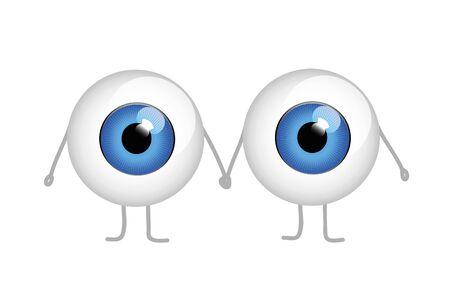 twee blauwe ogen hand in hand cartoon vectorillustratie eps10 Vector Illustratie