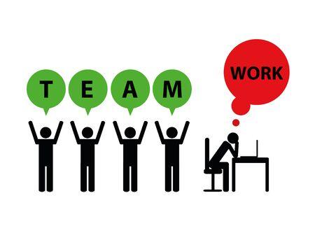 business teamwork and mobbing symbol pictogram vector illustration EPS10 Çizim