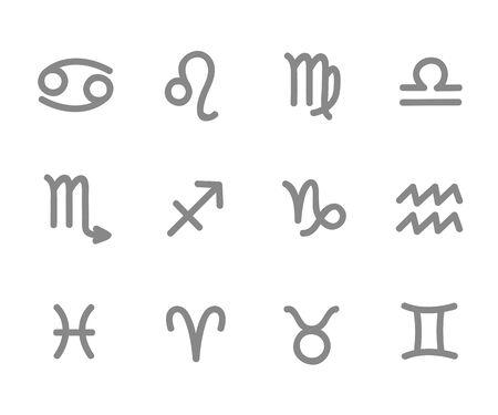 zodiac outline stylized sign horoscope vector illustration EPS10
