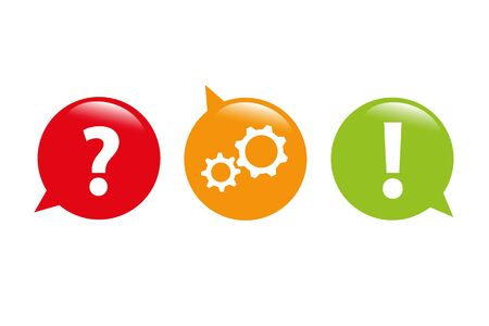 question and answer gear business bubbles vector illustration EPS10