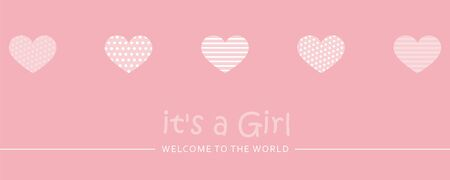 its a girl welcome greeting card for childbirth with hearts vector illustration EPS10