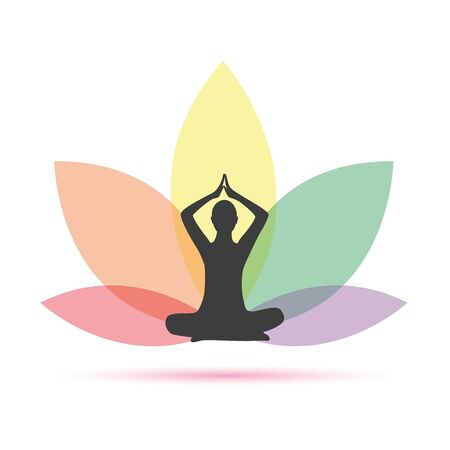 yoga person in a colorful lotus flower vector illustration EPS10 Ilustração