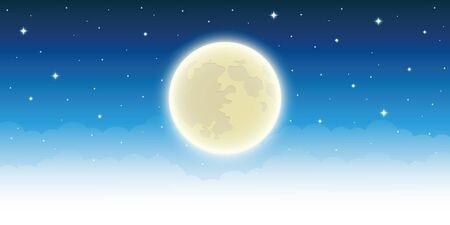 full shiny moon in starry sky vector illustration EPS10