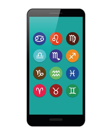 colorful zodiac sign horoscope in a smartphone vector illustration EPS10