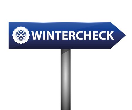 wintercheck car tires typography on a blue road sign vector illustration EPS10 Stock Illustratie