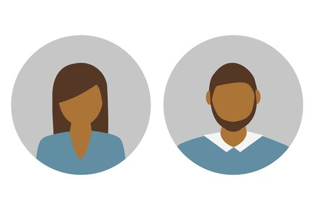 female and male character portrait vector illustration EPS10 일러스트