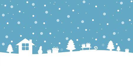 blue and white snowy christmas winter landscape vector illustration EPS10 Stock Illustratie