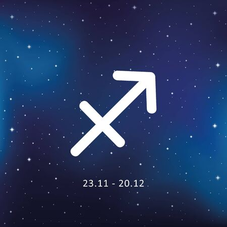 blue zodiac sign sagittarius horoscope in starry sky vector illustration EPS10