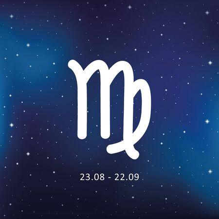 blue zodiac sign virgo horoscope in starry sky vector illustration EPS10