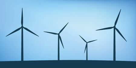 windmills silhouette wind power energy concept vector illustration EPS10