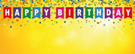 happy birthday party flags banner with confetti rain on sunny background vector illustration EPS10