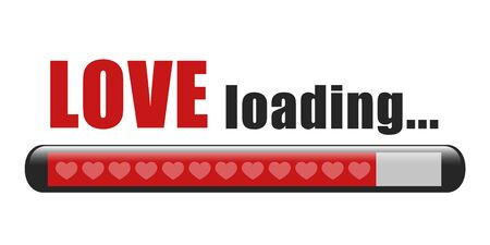 love loading red bar with hearts on white background vector illustration EPS10