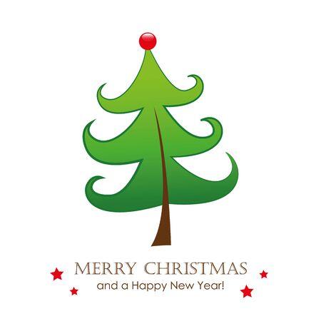funny christmas tree greeting card vector illustration EPS10