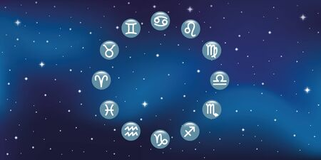 horoscope zodiac symbol in a circle in starry sky vector illustration EPS10