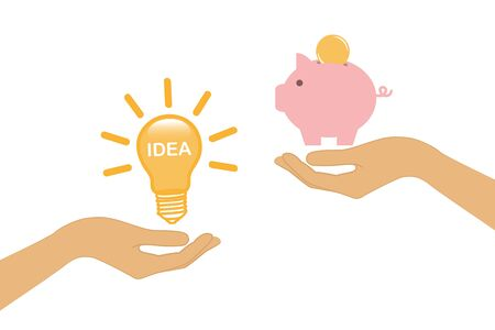 idea and money change concept with human hands vector illustration EPS10