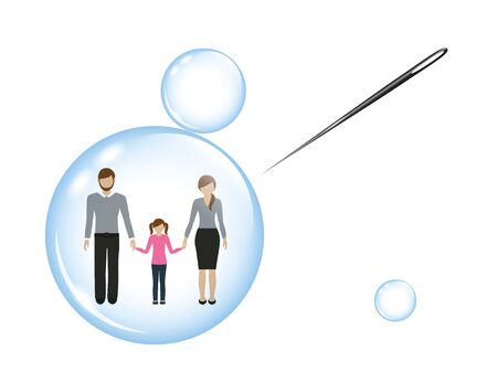 family with a child in a soap bubble and a needle vector illustration EPS10