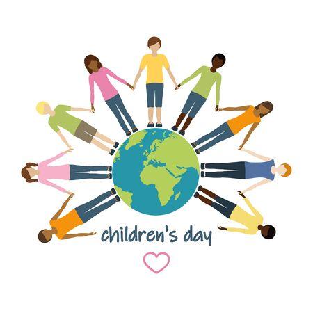 childrens day children aroud the world vector illustration EPS10 Ilustracja