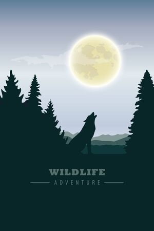 wildlife adventure wolf in the wilderness howling to the full moon vector illustration EPS10