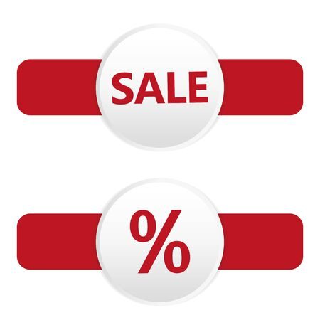 round sale tag for promotion in red white colors vector illustration EPS10