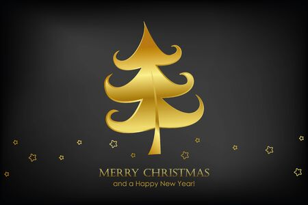 christmas card with golden christmas tree and stars on black background vector illustration EPS10 Stock Illustratie