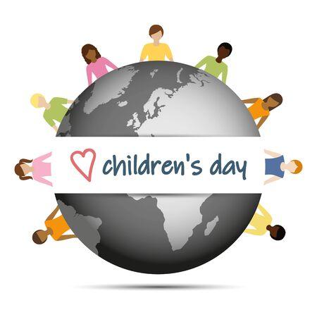 childrens day children aroud the world vector illustration EPS10 Illustration