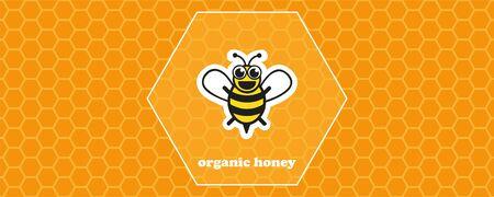 organic honey yellow honeycomb background with bee vector illustration EPS10