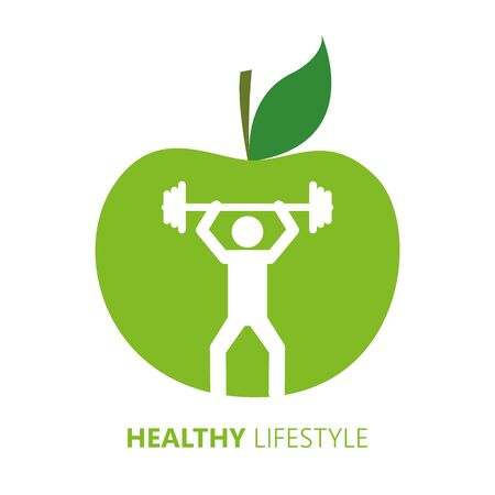 healthy lifestyle person with dumbbell and green apple vector illustration EPS10