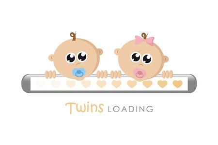 Bébé fille et garçon twins barre de chargement avec coeurs vector illustration EPS10 Vecteurs