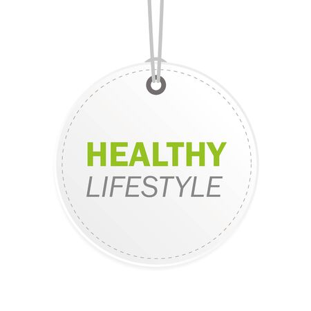 healthy lifestyle typography on a white hanging label vector illustration EPS10 일러스트