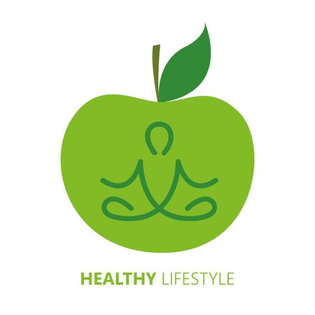 healthy lifestyle person in yoga pose and green apple vector illustration EPS10