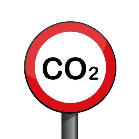round warning sign CO2 environmental pollution vector illustration EPS10