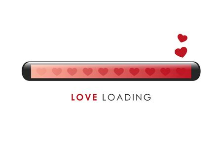 love loading bar with red heart vector illustration EPS10