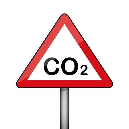 triangular warning sign CO2 environmental pollution vector illustration EPS10
