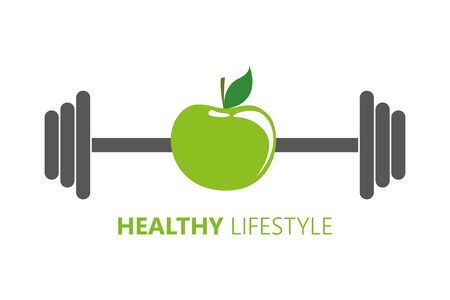 healthy lifestyle symbol with green apple and barbell vector illustration EPS10