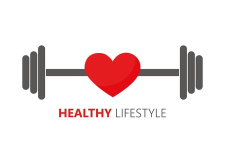 healthy lifestyle symbol with heart and barbell vector illustration EPS10