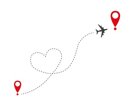 plane flies in heart form to the destination vector illustration EPS10
