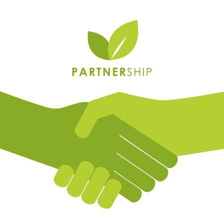 green partnership handshake people shake hands symbol vector illustration EPS10