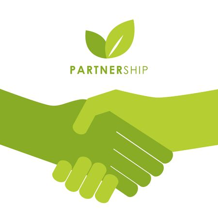 green partnership handshake people shake hands symbol vector illustration EPS10