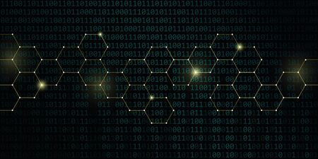 gold technical honeycomb with binary code background vector illustration EPS10 일러스트