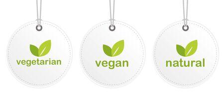 vegetarian vegan natural white hanging label vector illustration EPS10