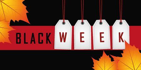black week promotion hanging label on red background with autumn leaves vector illustration EPS10 Banque d'images - 130788973