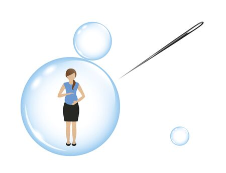 pregnant woman in a soap bubble and a needle vector illustration EPS10 Çizim