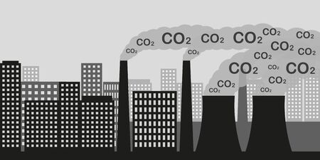 city and industry with air pollution CO2 industry smog and noxious gas emission vector illustration EPS10
