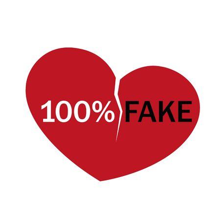 100 percent fake love broken heart vector illustration EPS10 Фото со стока - 130788981